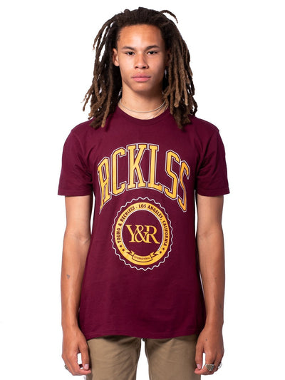 Young and Reckless Mens - Tees - Graphic Tee Harvard Tee - Burgundy