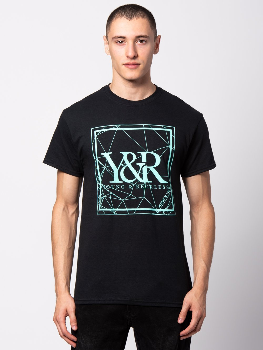 Young and Reckless Mens - Tees - Graphic Tee HD Crossed Lines Tee - Black