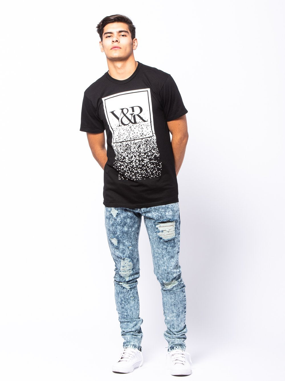 Young and Reckless Mens - Tees - Graphic Tee HD Trademark Crumble Tee- Black