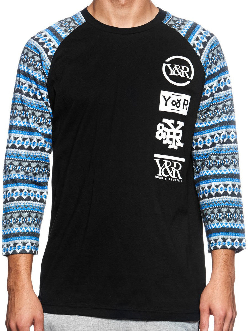Young and Reckless Mens - Tees - Graphic Tee Highline Loop Raglan- Black