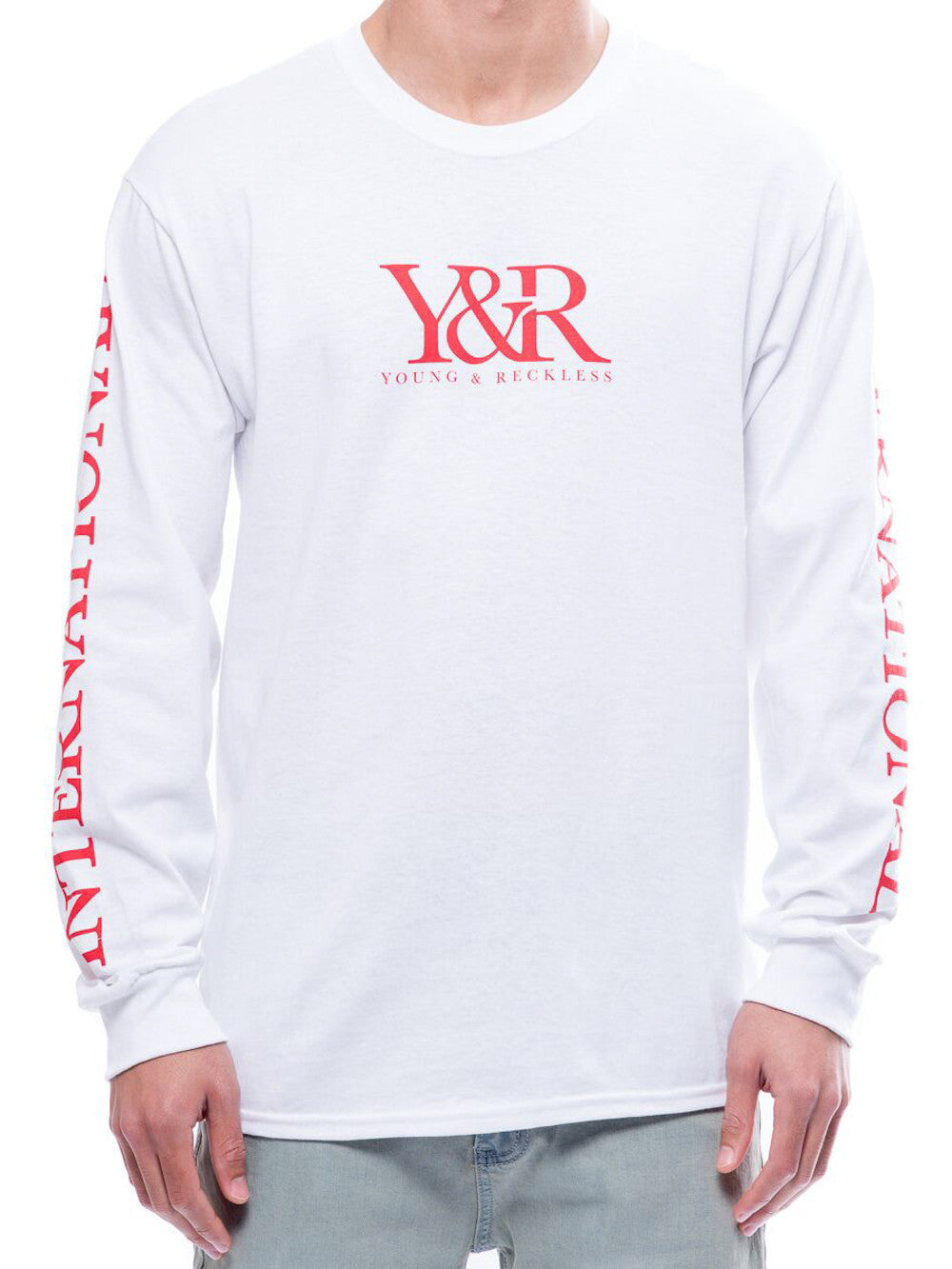 Young and Reckless Mens - Tees - Graphic Tee International Trade Long Sleeve- White