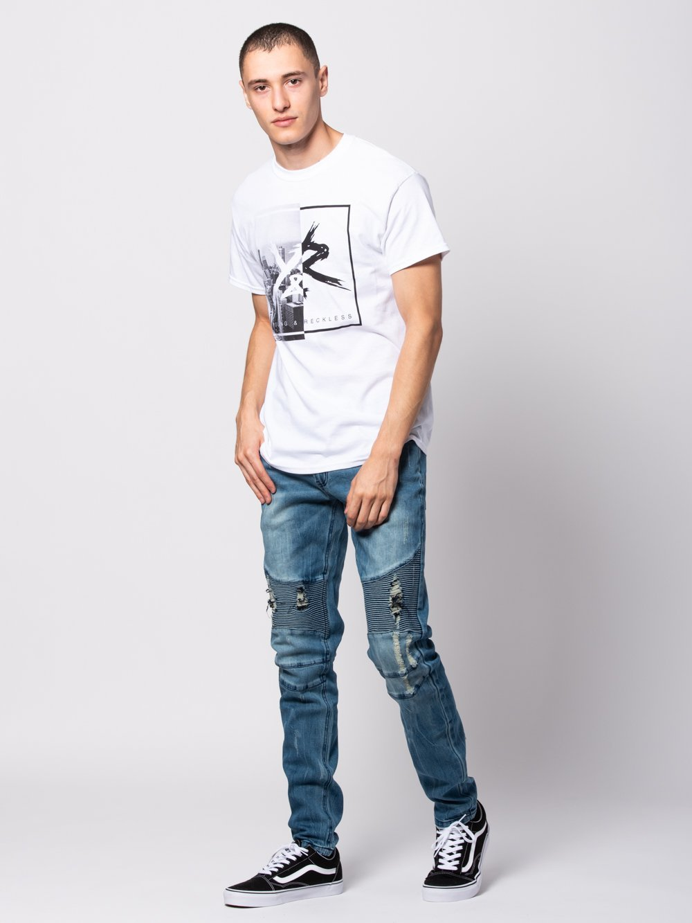 Young and Reckless Mens - Tees - Graphic Tee Intersection Tee - White