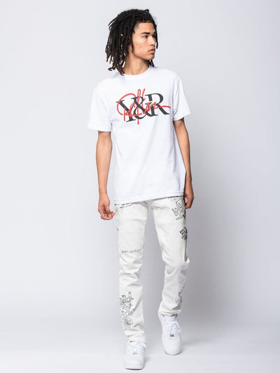 Young and Reckless Mens - Tees - Graphic Tee Intertwined Tee - White S / WHITE