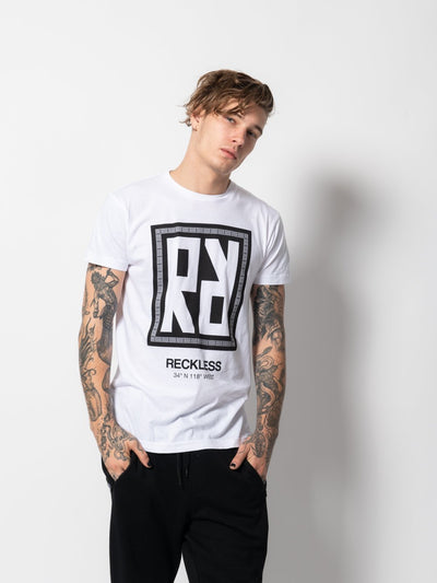 Young and Reckless Mens - Tees - Graphic Tee Invert Tee -White/Black