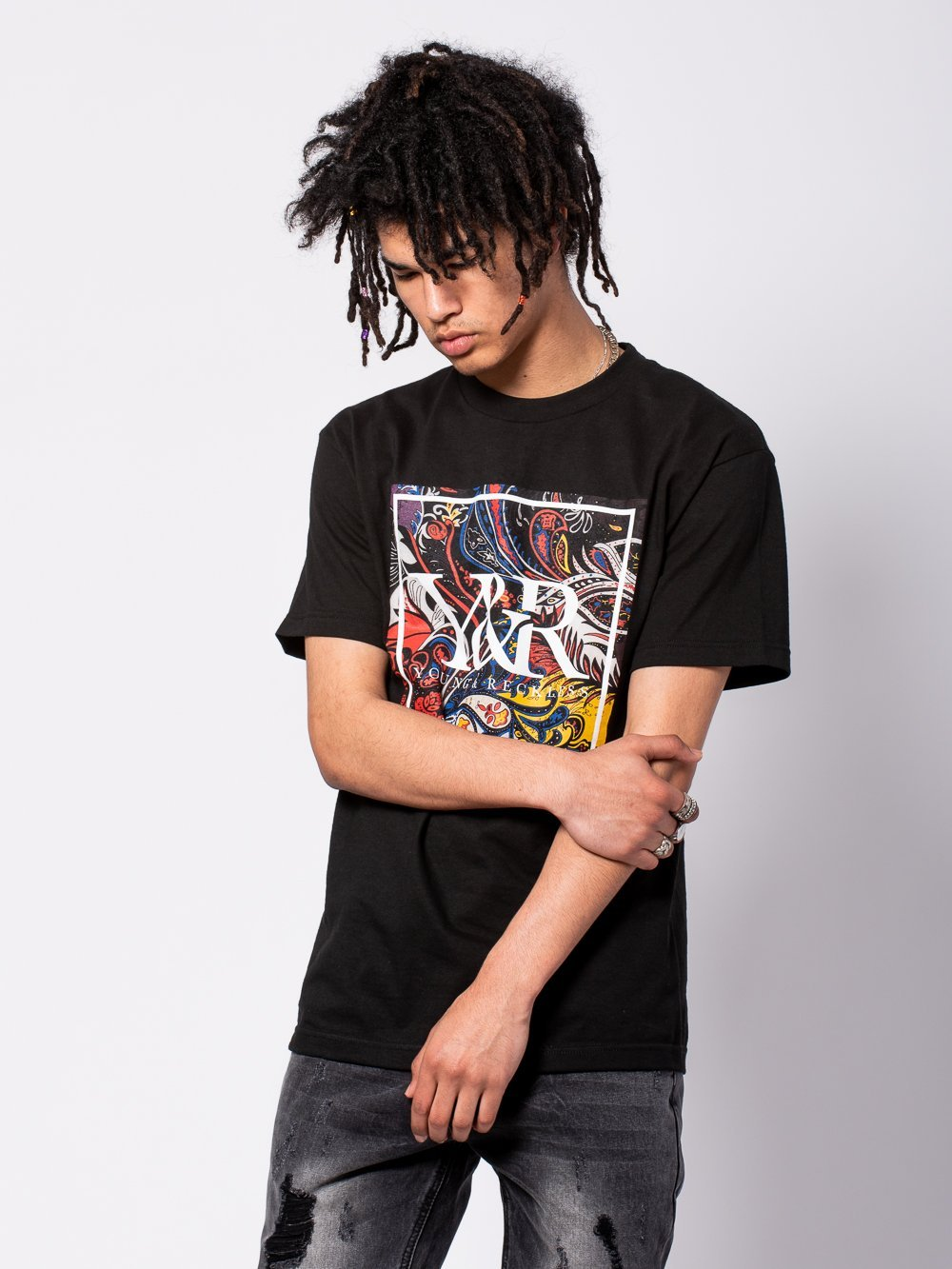 Young and Reckless Mens - Tees - Graphic Tee Jakob Tee - Black