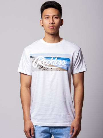 Young and Reckless Mens - Tees - Graphic Tee Laid Back Tee-White