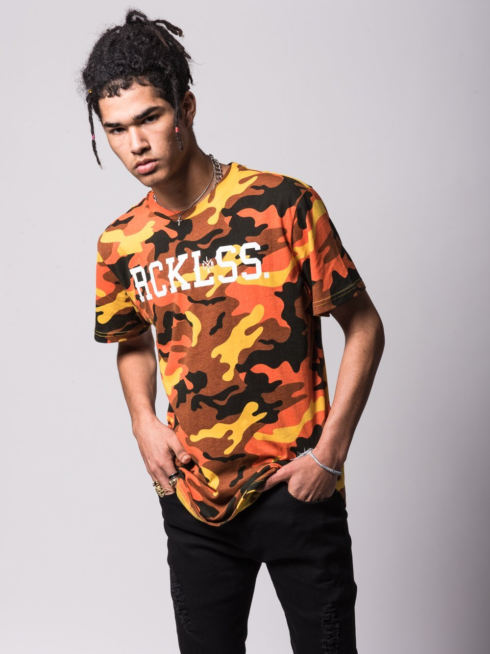 Young and Reckless Mens - Tees - Graphic Tee Lane Change Tee - Yellow Camo