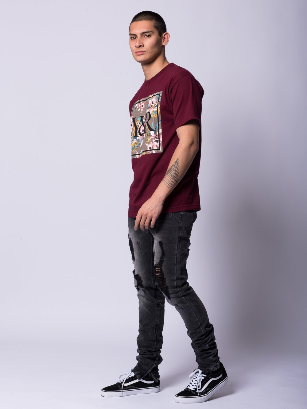 Young and Reckless Mens - Tees - Graphic Tee Monstruo Trademark Tee- Burgundy