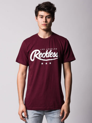 Young and Reckless Mens - Tees - Graphic Tee National Glory Tee - Burgundy