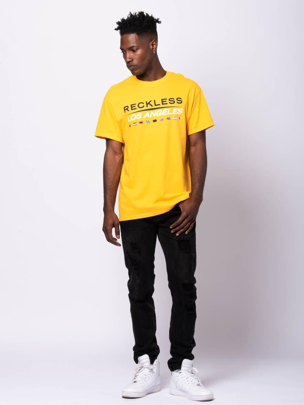 Young and Reckless Mens - Tees - Graphic Tee Nautical Tee - Gold