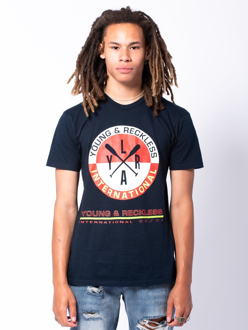 Young and Reckless Mens - Tees - Graphic Tee Naval Tee - Navy Blue