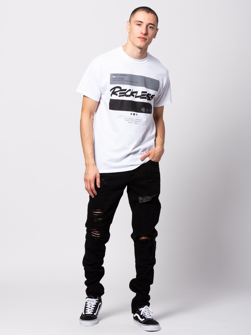 Young and Reckless Mens - Tees - Graphic Tee Official Biz Tee - White
