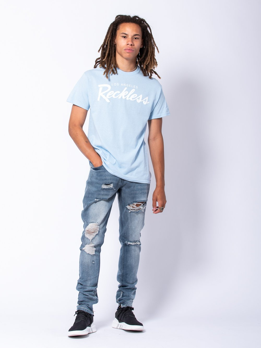 Young and Reckless Mens - Tees - Graphic Tee OG Reckless Tee - Light Blue