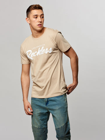 Young and Reckless Mens - Tees - Graphic Tee OG Reckless Tee- Sand