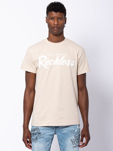 Young and Reckless Mens - Tees - Graphic Tee OG Reckless Tee - Sand/White
