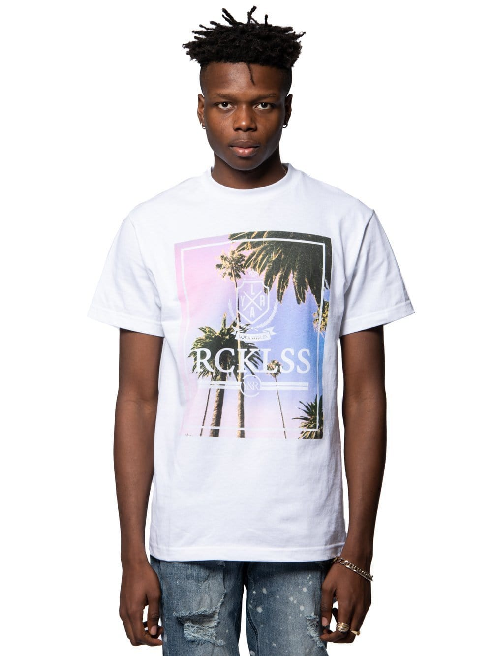 Young and Reckless Mens - Tees - Graphic Tee Pacific Sunrise Tee - White S / BLACK