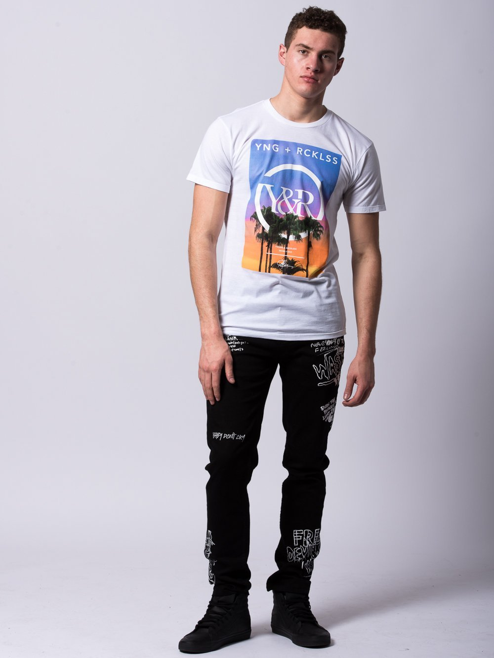 Young and Reckless Mens - Tees - Graphic Tee Pacific Sunset Tee - White