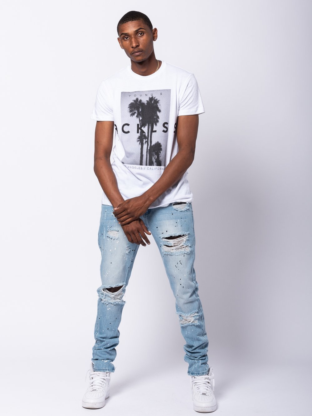 Young and Reckless Mens - Tees - Graphic Tee Palisadas Tee - White