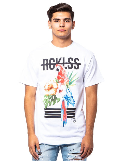 Young and Reckless Mens - Tees - Graphic Tee Parrot Tee - White