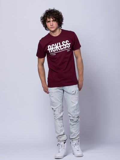 Young and Reckless Mens - Tees - Graphic Tee Pass Thru Tee - Burgundy