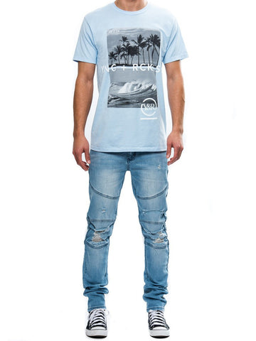 Young and Reckless Mens - Tees - Graphic Tee Pitted Times Tee- Baby Blue