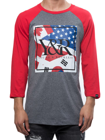 Young and Reckless Mens - Tees - Graphic Tee Represent Raglan - Heather Grey