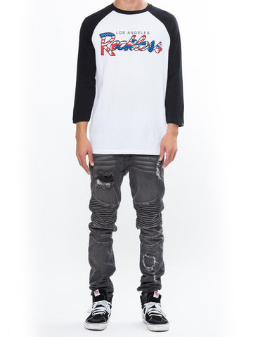 Young and Reckless Mens - Tees - Graphic Tee Represent Raglan - White