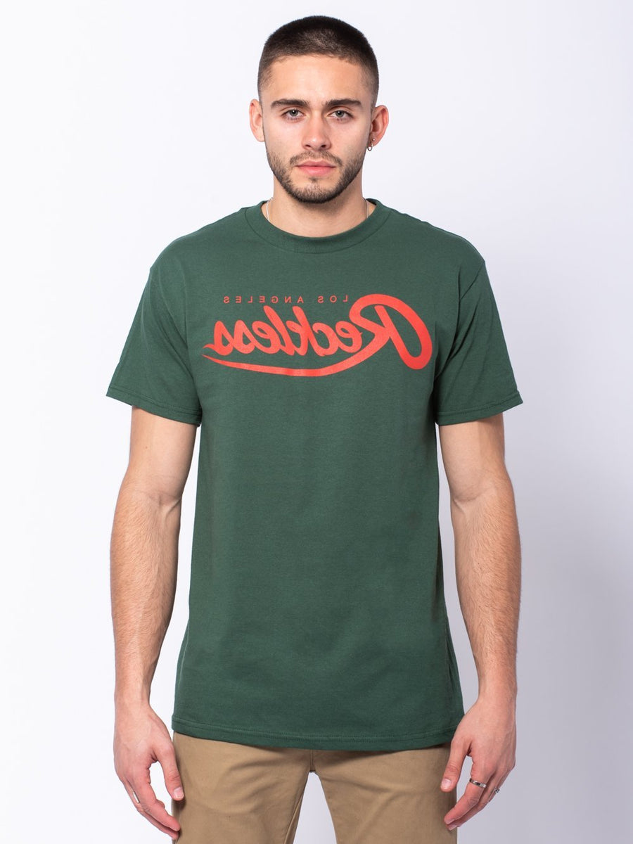 Young and Reckless Mens - Tees - Graphic Tee Reverse Script Tee - Forest Green