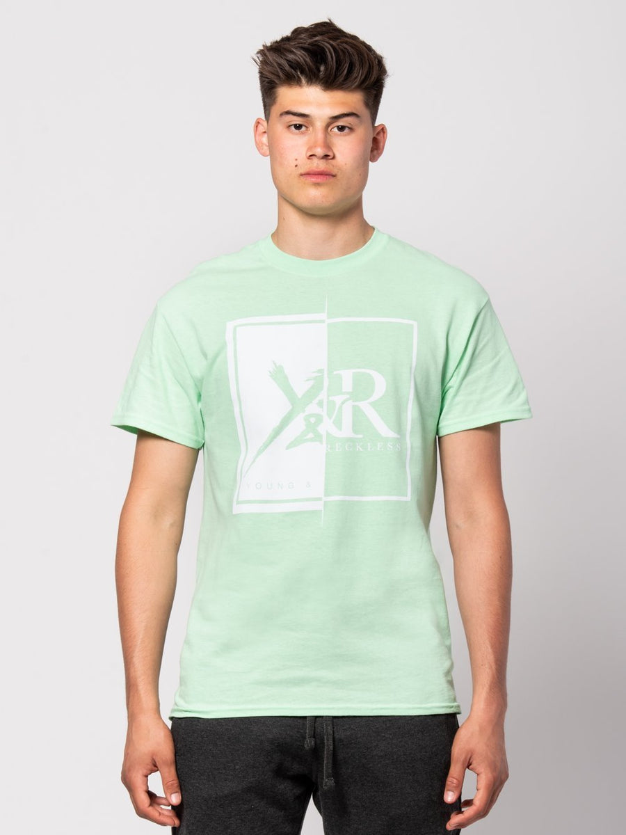 Young and Reckless Mens - Tees - Graphic Tee Shattered Tee - Ice Green