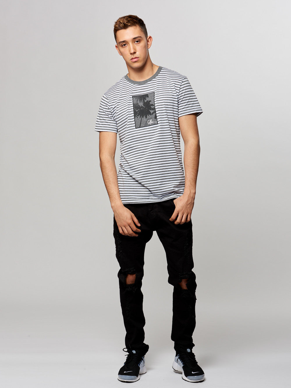 Young and Reckless Mens - Tees - Graphic Tee Shoreline Tee- White/Heather
