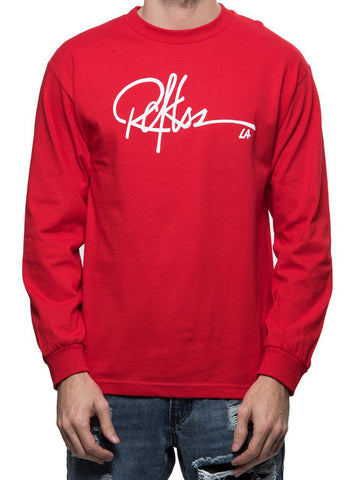 Young and Reckless Mens - Tees - Graphic Tee Signature Long Sleeve - Red