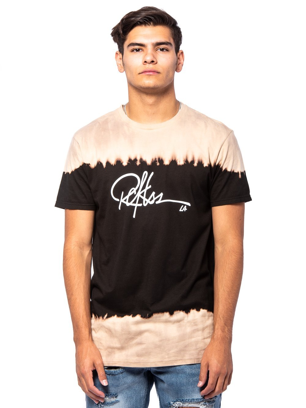 Young and Reckless Mens - Tees - Graphic Tee Signature Long Tee - Black/Tan