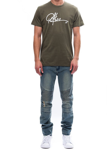 Young and Reckless Mens - Tees - Graphic Tee Signature Tee- Olive