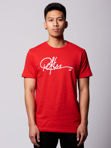 Young and Reckless Mens - Tees - Graphic Tee Signature Tee- Red/White