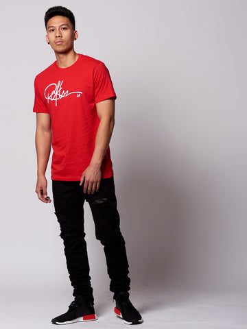 Signature Tee- Red/White