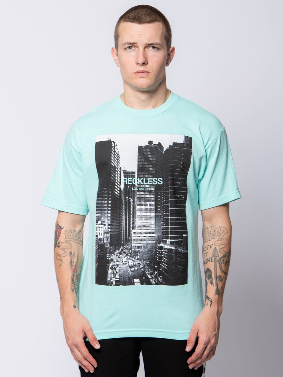Young and Reckless Mens - Tees - Graphic Tee Skyrise Tee - Celadon S / CELADON
