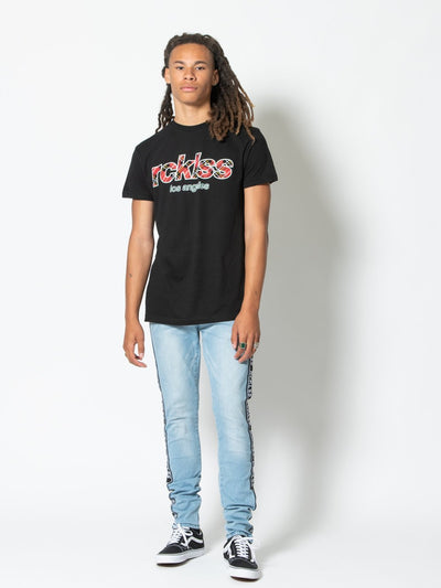 Young and Reckless Mens - Tees - Graphic Tee Slant Tee - Black S / BLACK
