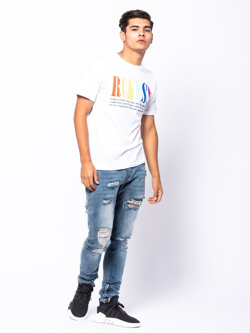 Young and Reckless Mens - Tees - Graphic Tee Spectrum Tee - White