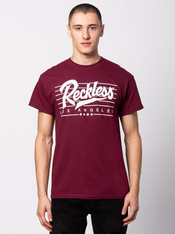 Young and Reckless Mens - Tees - Graphic Tee Speed Lines Tee - Maroon