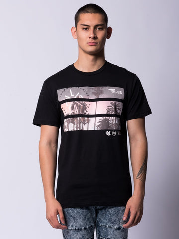 Young and Reckless Mens - Tees - Graphic Tee Split View Tee- Black