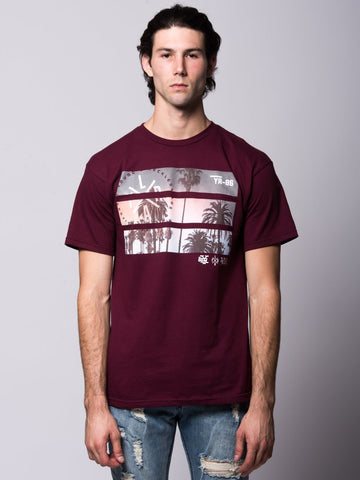 Young and Reckless Mens - Tees - Graphic Tee Split View Tee - Burgundy