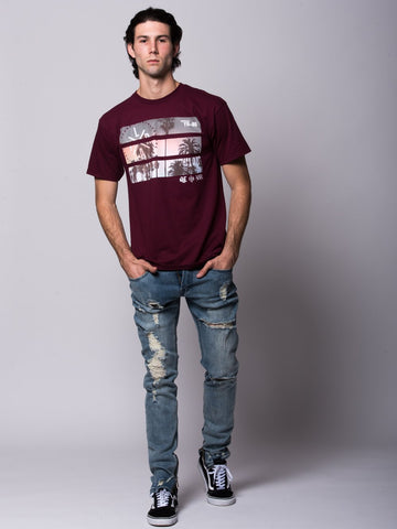Split View Tee - Burgundy