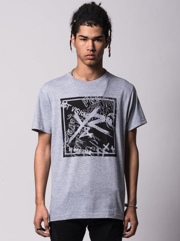 Young and Reckless Mens - Tees - Graphic Tee Square Logo Griffon Tee - Heather Grey