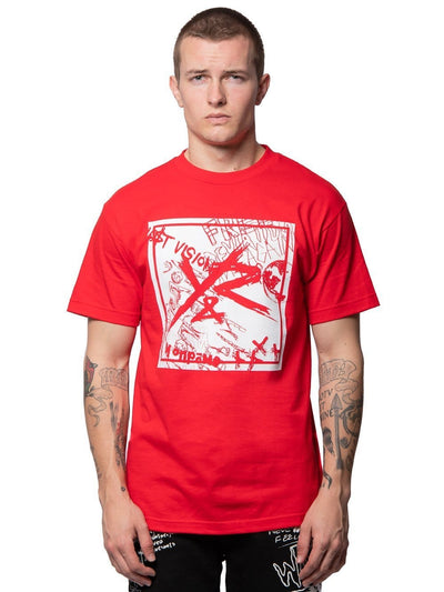 Young and Reckless Mens - Tees - Graphic Tee Square Logo Griffon Tee - Red S / RED
