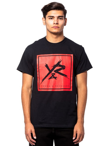 Young and Reckless Mens - Tees - Graphic Tee Square Logo Tee - Black/Red