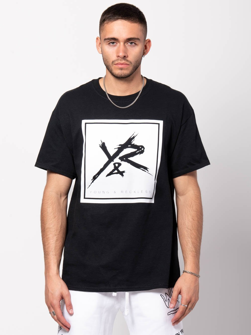 Young and Reckless Mens - Tees - Graphic Tee Square Logo Tee - Black/White