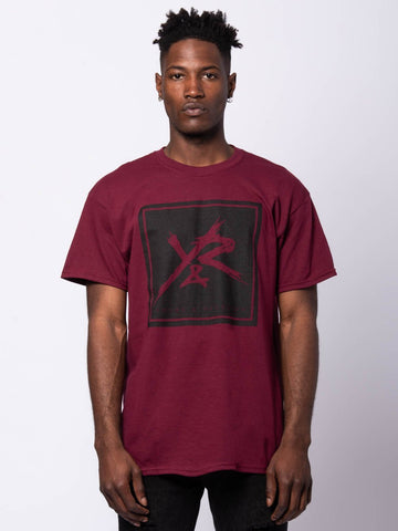 Young and Reckless Mens - Tees - Graphic Tee Square Logo Tee - Burgundy