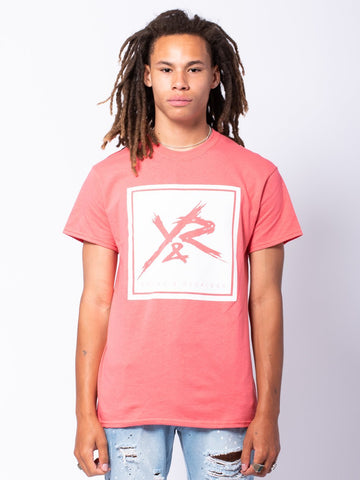 Young and Reckless Mens - Tees - Graphic Tee Square Logo Tee - Coral/White