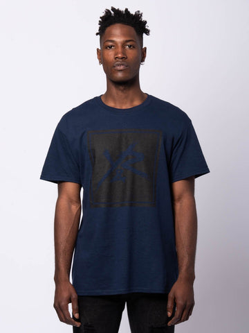 Young and Reckless Mens - Tees - Graphic Tee Square Logo Tee - Navy/Black