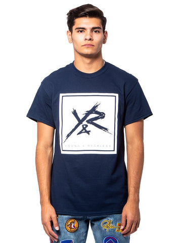 Young and Reckless Mens - Tees - Graphic Tee Square Logo Tee - Navy/White